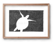 Absence of a Turtle - Artwork - Drawing - Print - Gift for Her - Black and white wall art - Fathers Day