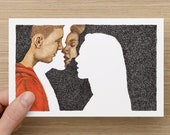 Card  - Kissing Couple - Absence of a Kiss  - Greeting Cards