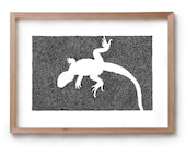 Absence of a Lizard - Artwork - Drawing - Print - Gift for Her - Black and white wall art