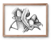Love & Lust - Wheelchair Girl  -  Artwork - Drawing - Print - Gift for Her - Black and white wall art - Valentines Gift