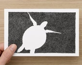 Card  - Turtle - Under the Sea - Black & White Turtle drawing - Celebration - Greeting Cards - Birthday Card- - Valentines Card