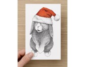 Christmas Card - Christmas Rabbit - Rabbit in a Christmas Hat - Christmas Bunny