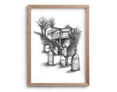 Ghosts of Christmas Past - Halloween Decor - Artwork - Drawing - Print - Black and white wall art