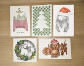Mixed Pack of Christmas Cards - Baby Animals Christmas Hat - Rabbit in a Christmas Hat - Christmas Tree - Christmas Kiss - Christmas Jumper