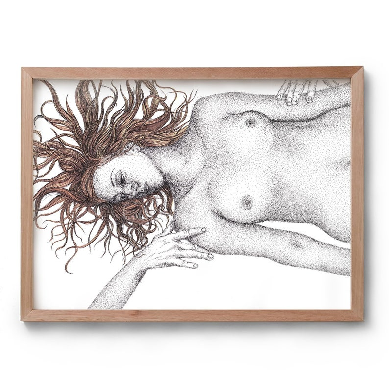 The Recipient  Embrace  Nude Art  Artwork  Drawing  Print image 0