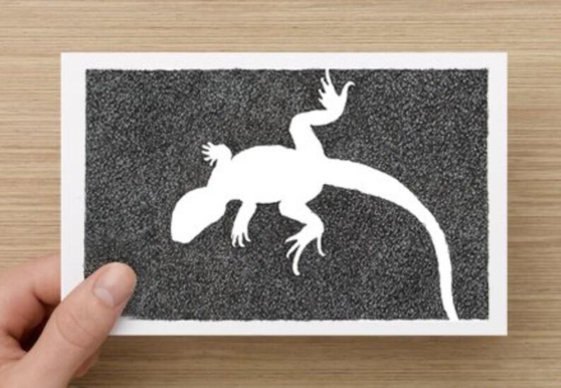 Card   Lizard  Absence of a Lizard  Black & White Lizard image 0