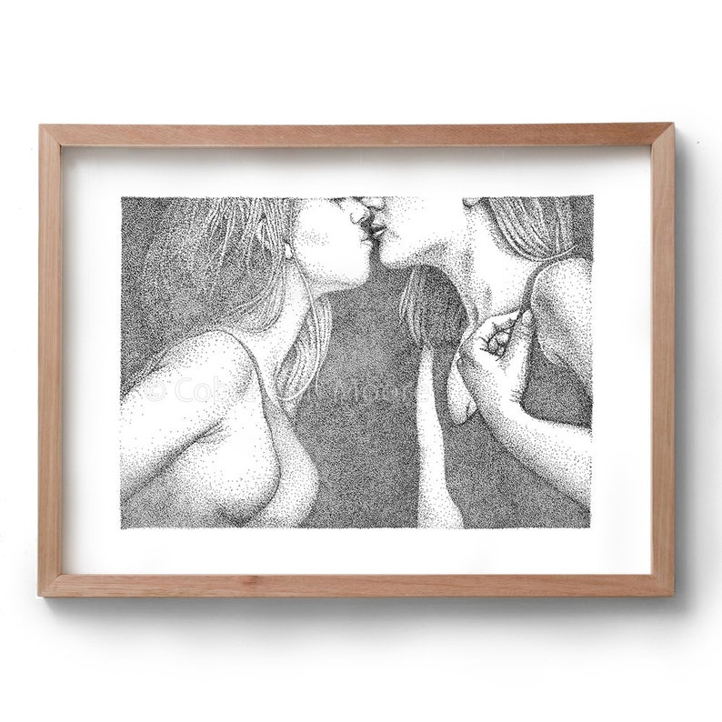 Love & Lust  Kiss  Artwork  Drawing  Print  Gift for Her image 0