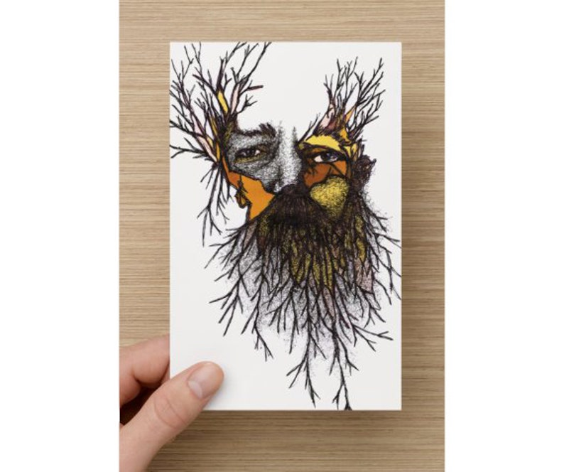Card  Bearded man  Wild Man  For Him  Card for Him  image 0