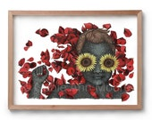 Flowers for Her- Beauty and Suffering - Portrait - Beauty - sunflowers - roses - flower petals - Artwork - Drawing - Print
