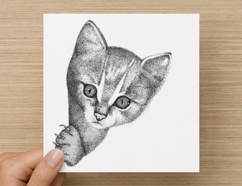 Card   Kitten  Cat Lovers Card  Black & White Cat Drawing  image 0
