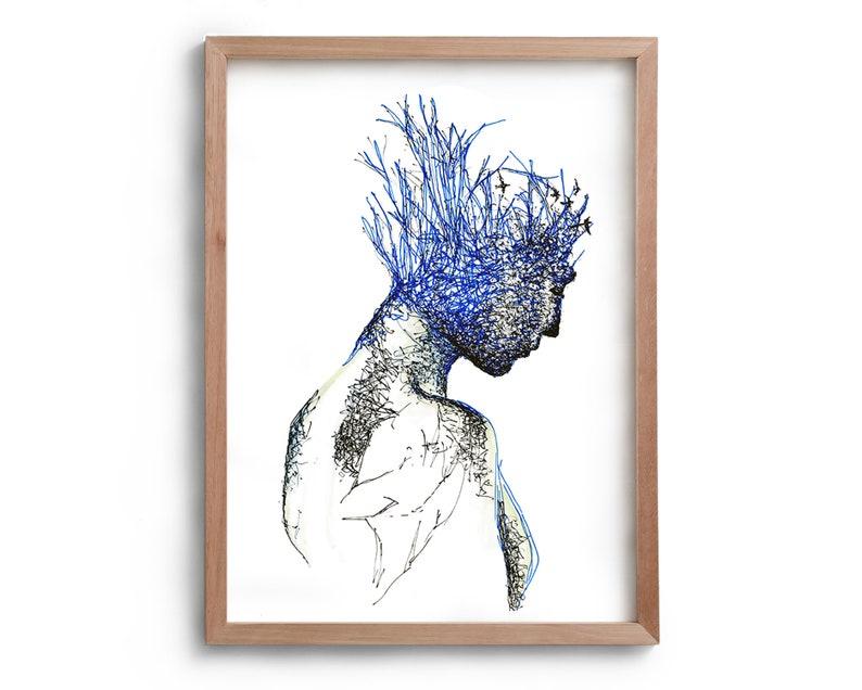 Neuroplasticity  Blue Portrait with Birds  Artwork  Drawing image 0