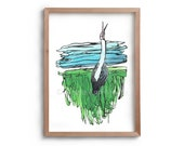 The Lonely Brolga - landscape -  Bird song - Artwork - Painting - Print