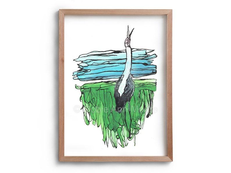 The Lonely Brolga  landscape   Bird song  Artwork  Drawing image 0