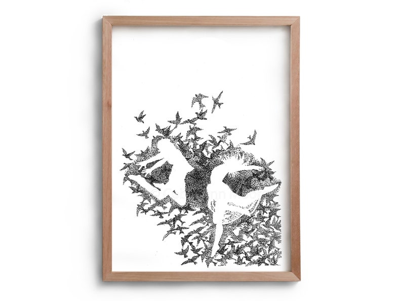 Dance  Artwork  Drawing  Print  Gift for Her  Black and image 0