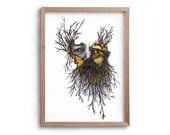 Wild Man - Bearded Man - Gift for Him - Tree - Artwork - Drawing - Print