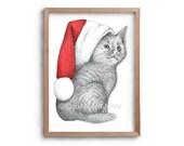 Christmas Art - Christmas Kitten- Cat in a Christmas Hat - Christmas Cat