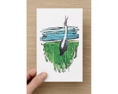Card - The Lonely Brolga - Bird  -Landscape - Greeting Cards - Birthday Card - Mothers Day Card