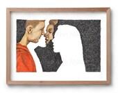 Absence of a Kiss - Romance Portrait - Couple Kissing - Artist Print -  Artwork - Drawing