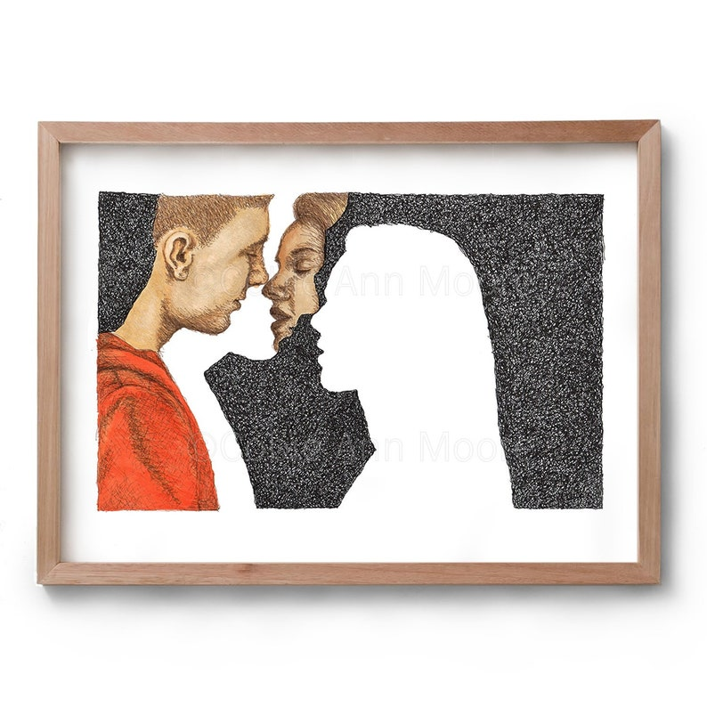 Absence of a Kiss  Artwork  Drawing  Print image 0