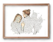 Touch -  Embrace Technology to Connect - Long Distance Relationship - Artwork - Drawing - Print