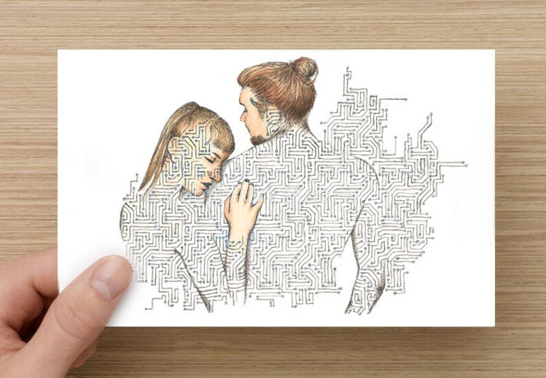 Card  Touch  Long distance relationship  Anniversary Card  image 0