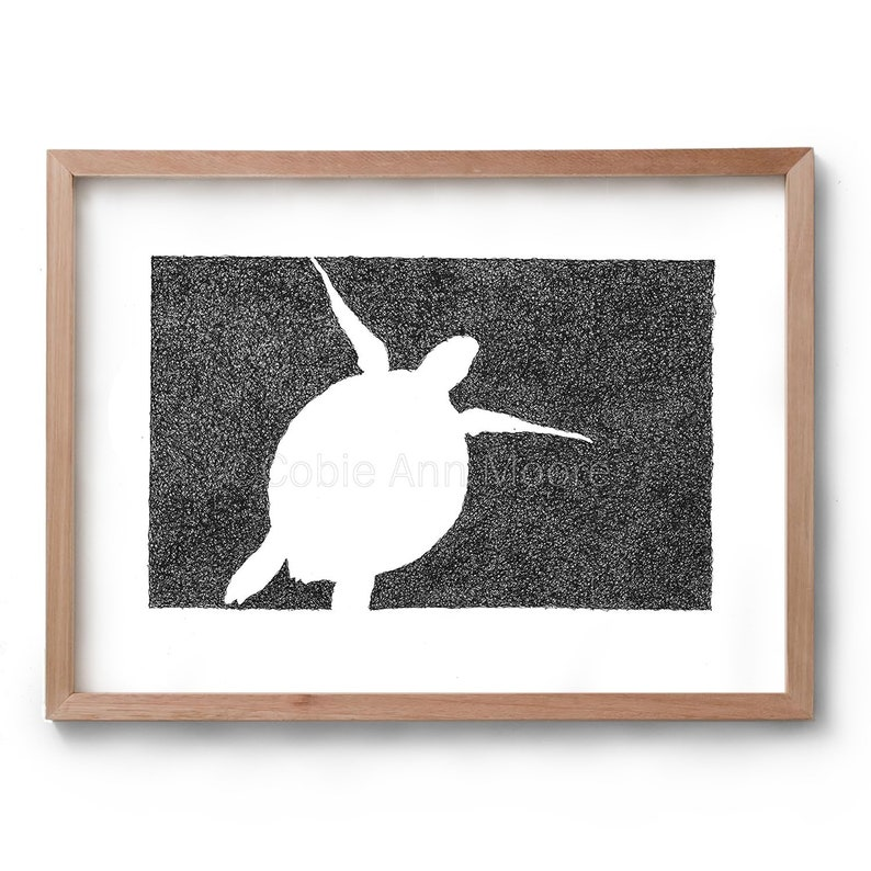 Absence of a Turtle  Artwork  Drawing  Print  Gift for Her image 0