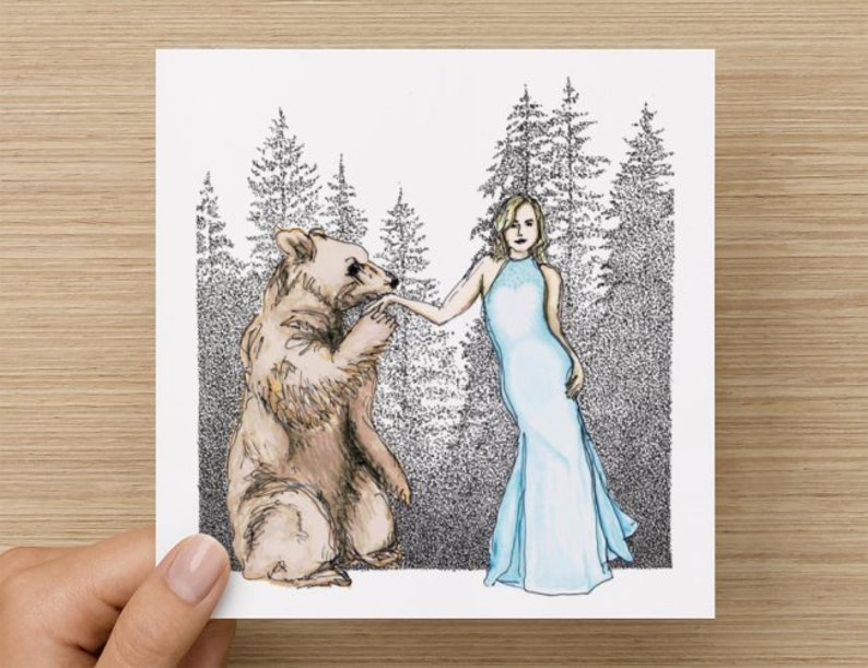 Card  Bare  Bear Love  Blank Art Card  Anniversary Card  image 0