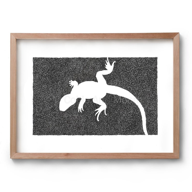 Absence of a Lizard  Artwork  Drawing  Print  Gift for Her image 0
