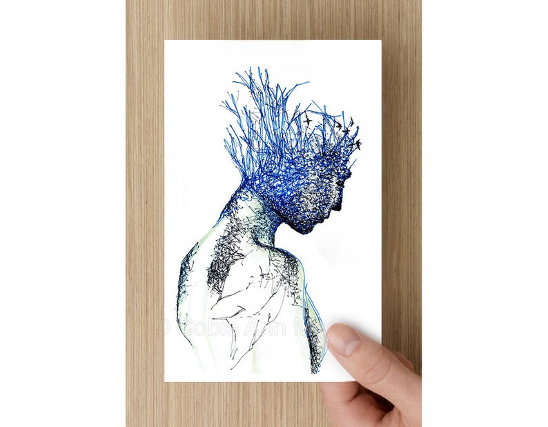 Card   Neuroplasticity  Blue Portrait with Birds   Greeting image 0