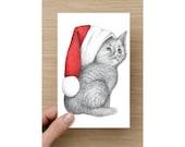 Christmas Card - Christmas Cat - Kitten in a Christmas Hat - Christmas Kitten