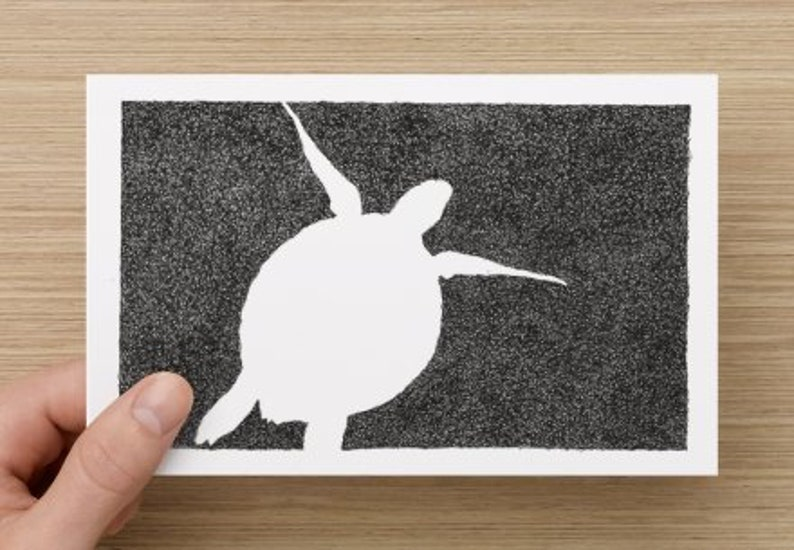 Card   Turtle  Under the Sea  Black & White Turtle drawing image 0