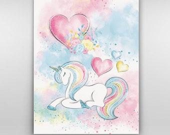 3ec4ffd5a4fd6 Unicorn canvas art | Etsy