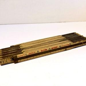 Vintage Old White Lufkin Wood Folding Tape Measure Extension Ruler