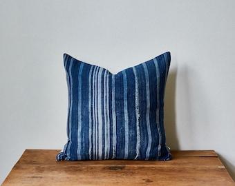 "Vintage Indigo Mud Cloth + Striped Linen Pillow Cover 17"" x 17"""