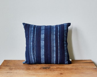 "Vintage Indigo Mud Cloth + Blue Linen Pillow Cover 16"" x 16"""
