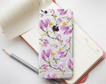 Purple Flowers Phone 7 Case iPhone7 Plus Phone Case iPhone 8 Floral 6s Phone Case iPhone 6s Plus Phone Clear Case iPhone 8 Plus Cover PP1386