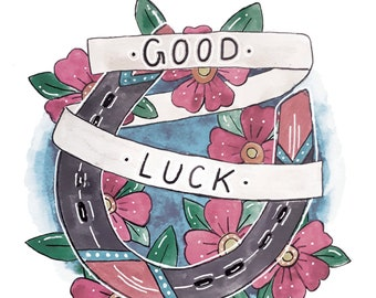 Good Luck Horse Shoe Tattoo Style Art Print
