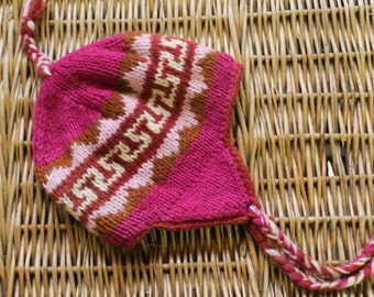 4435a3f5ca7 Pink wool toque Nepal   Toque Nepal   Wool toque   Nepal   Ski Toque   Wool  Hat   Pink Winter hat   Pink winter toque  Wool hand made toque