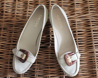 Geox Beige patent leather high heels shoes size 38 / Patent leather shoes/ Beige patent leather shoes/ Geox shoes/Beige shoes/Loafers