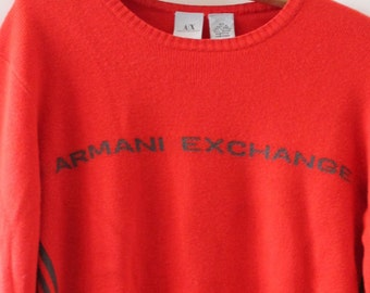 9a845f4c3 Armani Exchange Knit Sweater Orange XS / Armani Exchange Shirt/ Vintage  Armani/Orange sweater