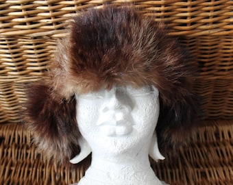 e4d2b48266857 Trapper fur   suede Hat  Fur Hat Suede hat Trapper fur hat Trapper leather  hat Vintage trapper hat