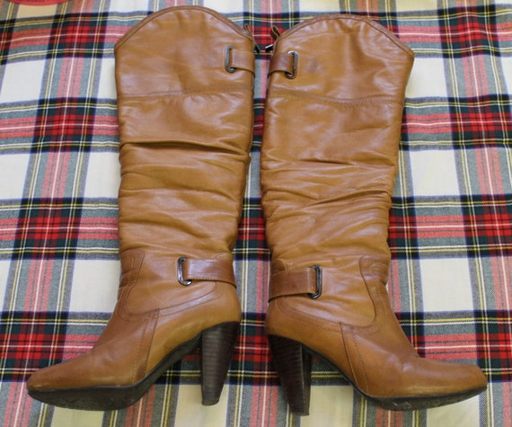 High heels brown leather Boots /Leather Boots  / H