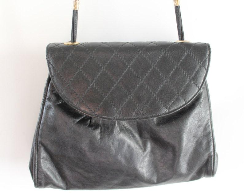 10045b8d8b Vintage Quilted Black Leather Bag   Black Leather Bag   Black