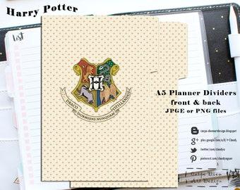 Harry Potter Planner Dividers/Printable Dividers/Dividers/Planner Dividers/A5 Dividers/