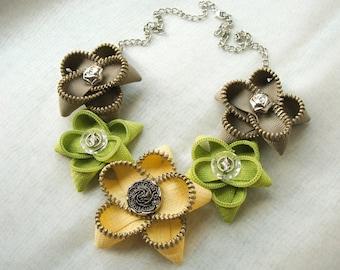 Flower necklace, Zipper necklace, Handmade necklace, Handmade jewelry, Yellow necklace, Gift for her