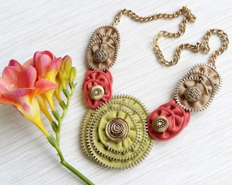 Zipper necklace, Zipper jewelry, Handmade necklace, Statement necklace, Gift for her, Ready to ship