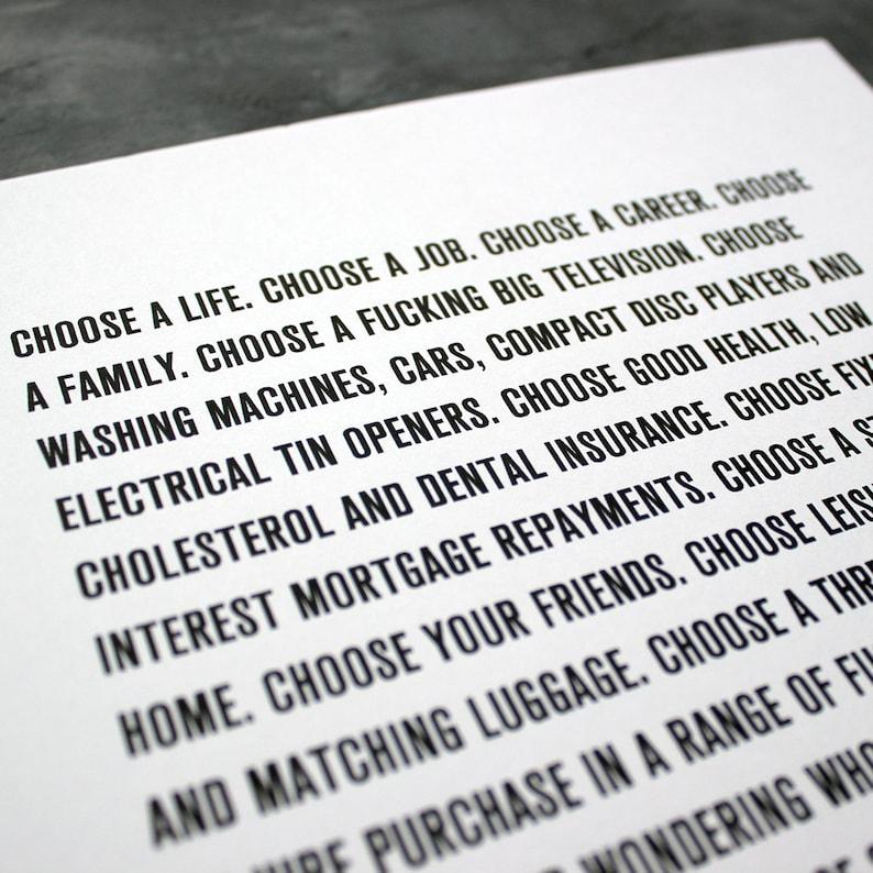 Trainspotting Original Choose Life Quote A4 Impresión | Etsy