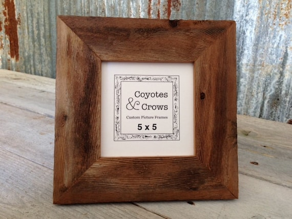 5x5 Rustic Picture Frame - Reclaimed Wood Picture Frame - 5x5 Barn ...