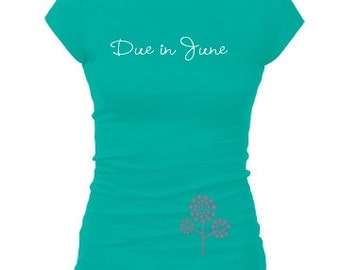 Pregnancy announcement shirt, Maternity shirt, Pregnancy announcement, Pregnancy reveal, Cute maternity t-shirts, Pregnancy gift due in June