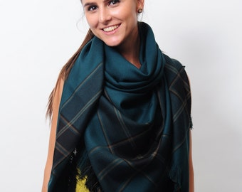 Teal Oversized Shawl Blanket Scarf Wrap Zara Scarf Check Scarf Plaid Scarf Tartan Scarf Gift for Women Winter Accessories Gift for Her
